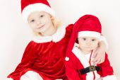 Two little girls as Santa Clauses — Stock Photo