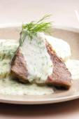 Dill sauce with beef meat — Foto de Stock