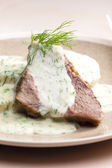 Dill sauce with beef meat — Photo