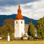 Fortified church in Liptovske Matiasovce, Slovakia — Stock Photo #57914381