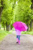 Little girl in rubber boots with umbrella — Stock Photo
