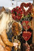 Woman at Christmas market, Vienna, Austria — Stock Photo