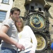 Couple in Prague, Horloge, Old Town Hall, Czech Republic — Stock Photo #61107381