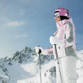 女子滑雪运动员、 阿尔卑斯山、 萨瓦、 法国 — 图库照片