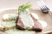 Dill sauce with beef meat — Stock Photo
