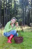 Mushroom picking woman — Stock Photo