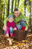 Mother with her daughter picking mushrooms — Stock Photo