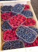 Raspberries and blueberries, market in Nyons, Rhone-Alpes, Franc — Stock Photo