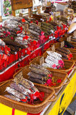 Sausages, market in Nyons, Rhone-Alpes, France — Stock Photo