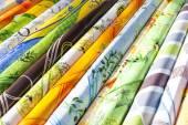 Fabrics, market in Nyons, Rhone-Alpes, France — Stock Photo