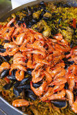 Paella with seafood, market in Nyons — Stock Photo