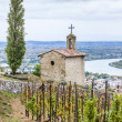 Grand cru vineyard and Chapel of St. Christopher, L'Hermitage, R — Stock Photo #71541315