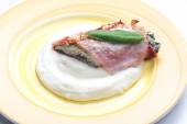 Fillet of trout with sage roasted in the Prague Ham with mashed  — Stock Photo