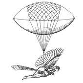 Vector Historic Flying Balloon Blimp — Stock Vector