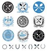 Vector Restaurant Logo and Food Badge Set — Cтоковый вектор