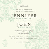 Wedding invitation on floral ornament — Stock Vector