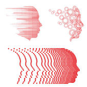 Vector face and head graphics with dot patterns. — Vettoriale Stock
