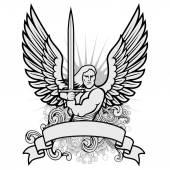 Vector Warrior Angel Illustration. — Stock Vector