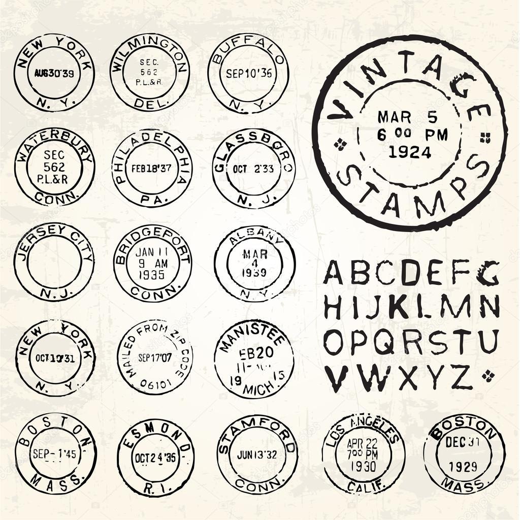 Vector retro postage stamp set — Stock Vector ...