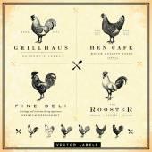 Vector Restaurant and Chicken Logo Set — Stock Vector