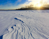Winter field on river — Stock Photo