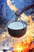 Smoked Tourist kettle on fire — Stock Photo