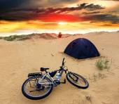 Bike in tourist camp — Stock Photo