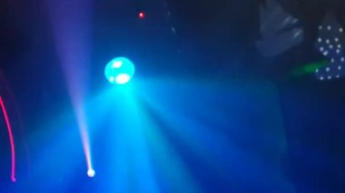 Scenery and lighting equipment working in a nightclub — Stock Video