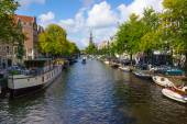 Panorama of canal in old town in Amsterdam — Stock Photo