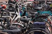 A lot of bikes on the bicycle parking — Foto Stock