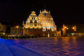House of the Blackheads at night in Riga, Latvia — Stock Photo