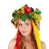 Girl in the fruit garland — Stock Photo