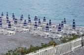 Beach parasols on the seaside — Foto de Stock