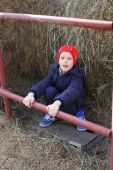Boy on the horse farm — Stock Photo