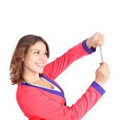 Girl making selfie — Stock Photo