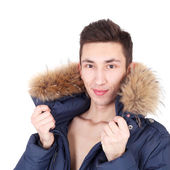 Young handsome fashion guy in jacket — Stock Photo