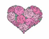 Roses in shape of a heart — Stock Vector