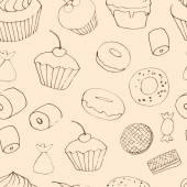 Modello senza soluzione di continuità con i dolci — Vettoriale Stock