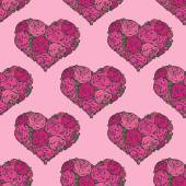 Seamless pattern with hearts made of red rose — Vettoriale Stock