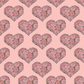 Seamless pattern with hearts made of red rose — Stok Vektör