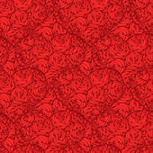 Seamless pattern with hearts made of red rose — Stock Vector