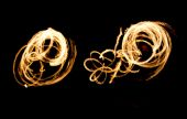 Fire Show Flaming Trails — Stock Photo
