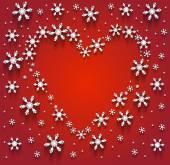 Kar taneleri kalbinde — Stok Vektör