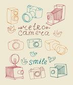 Vintage camera instellen — Stockvector
