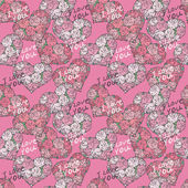 Seamless pattern with hearts made of red rose — Stockvector