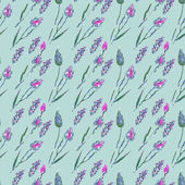 Seamless pattern with flowers and ears — Stock vektor