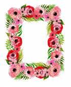 Kwiatowy ramki z różowe kwiaty — Wektor stockowy