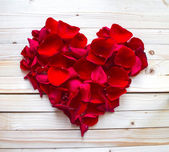 Heart made of red petals — Stock Photo