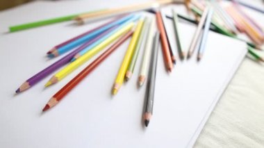 Close-up colored pencils and watercolor — Stock Video