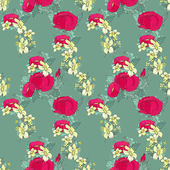 Seamless floral pattern with peonies — Stock Vector